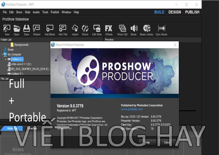 Phần mềm chính video Proshow Producer 9 Portable